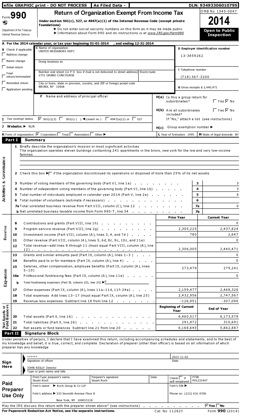 Image of first page of 2014 Form 990 for United Neighbors Housing Development Fund Company