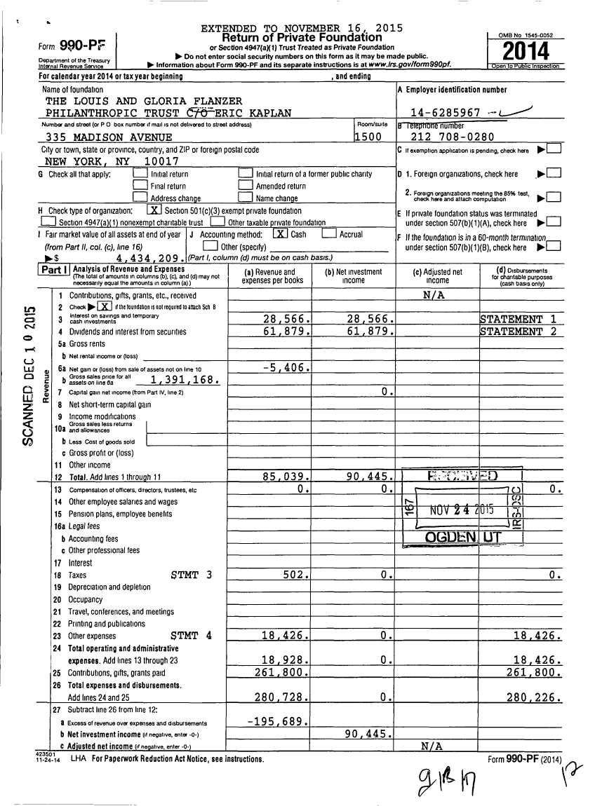 Image of first page of 2014 Form 990PF for The Louis and Gloria Flanzer Philanthropic Trust