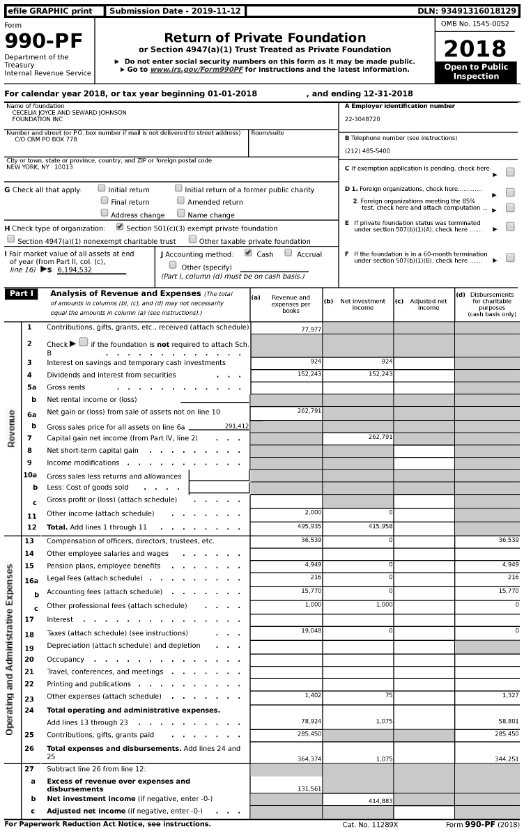 Image of first page of 2018 Form 990PF for Cecelia Joyce and Seward Johnson Foundation