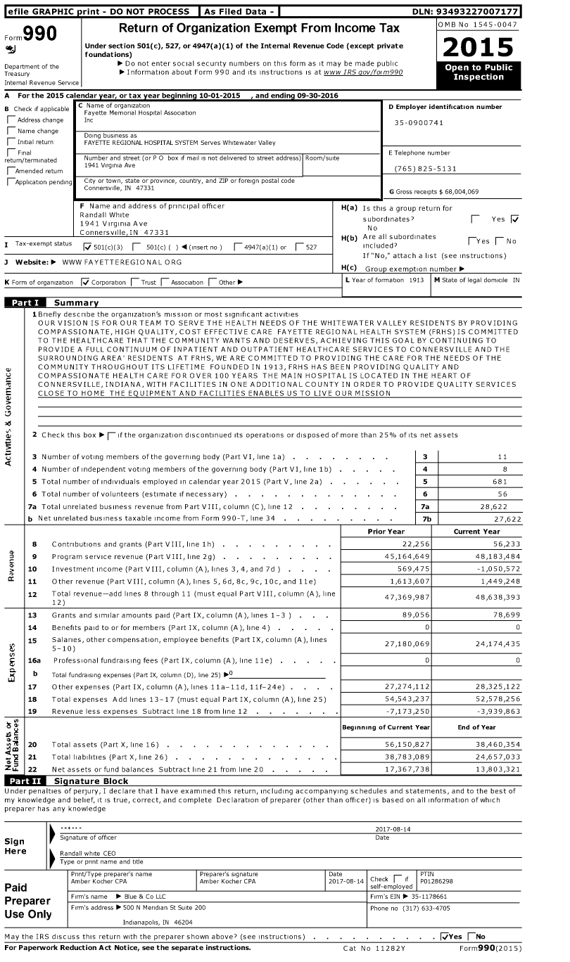 Image of first page of 2015 Form 990 for Fayette Regional HOSPITAL System Serves Whitewater Valley