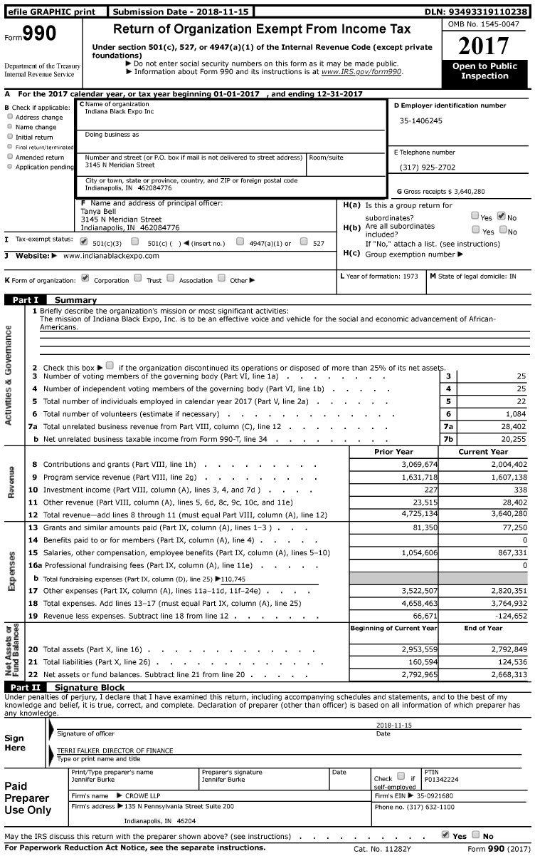 Image of first page of 2017 Form 990 for Indiana Black Expo