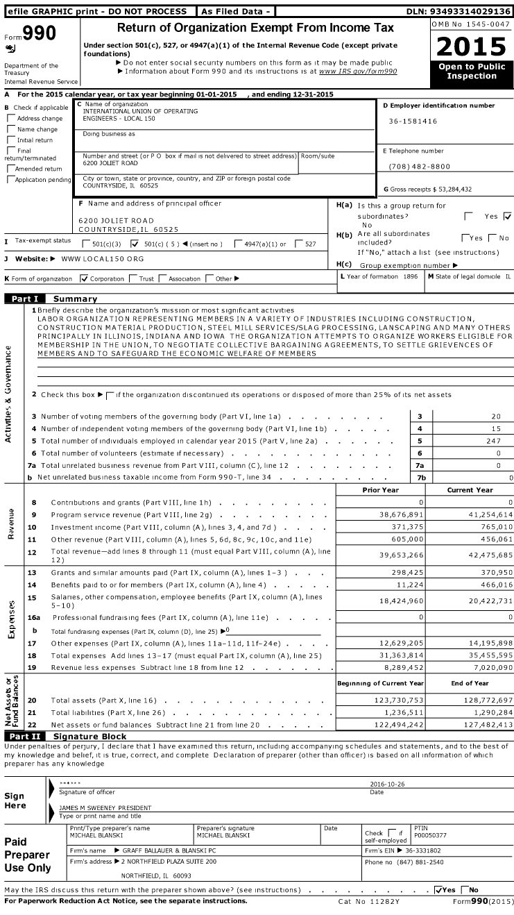 Image of first page of 2015 Form 990O for International Union of Operating Engineers Local 150 (IUOE Local 150)