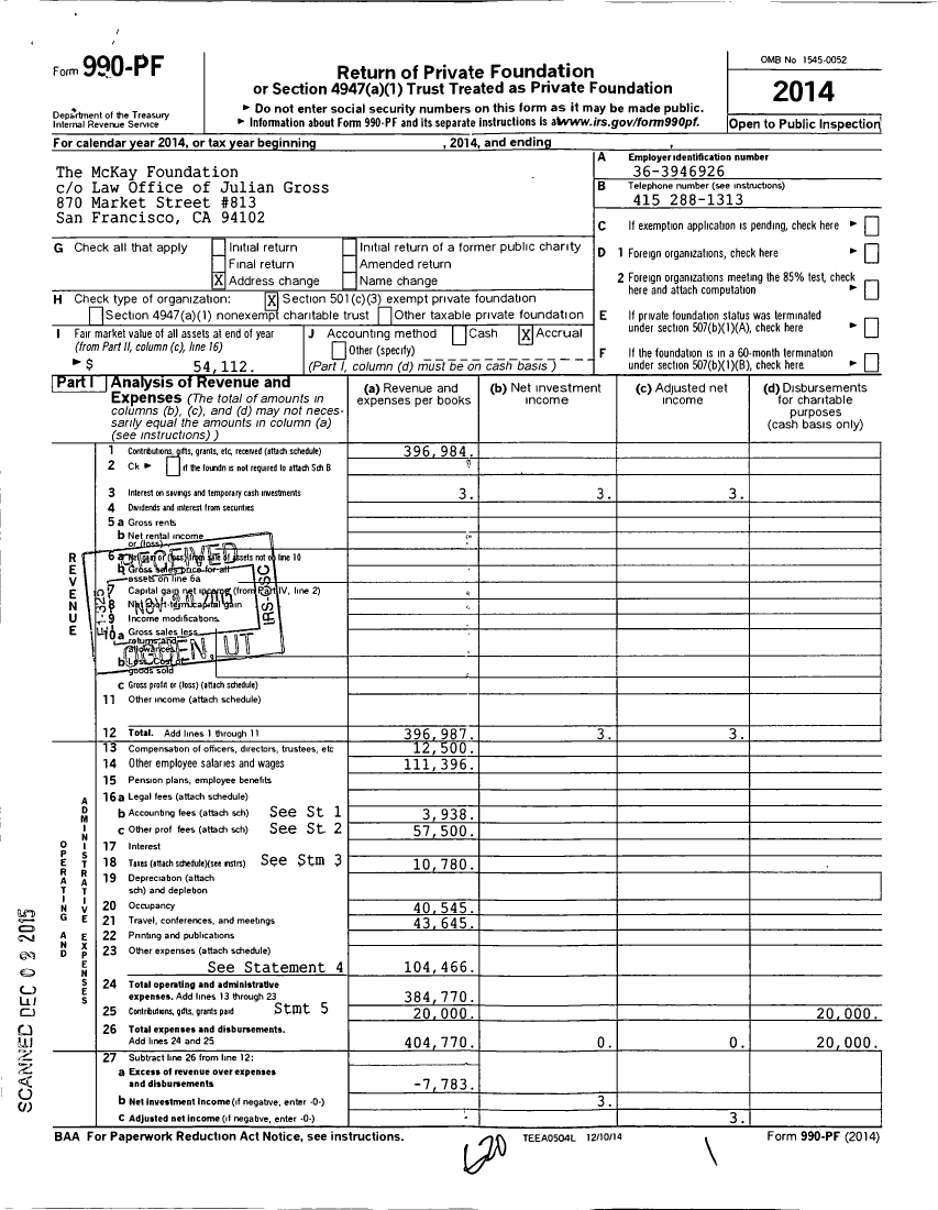 Image of first page of 2014 Form 990PF for Mckay Family Foundation
