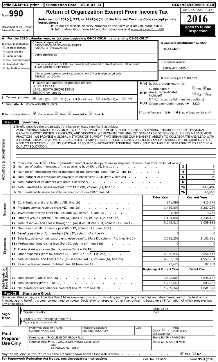 Image of first page of 2016 Form 990 for Association of School Business Officials International