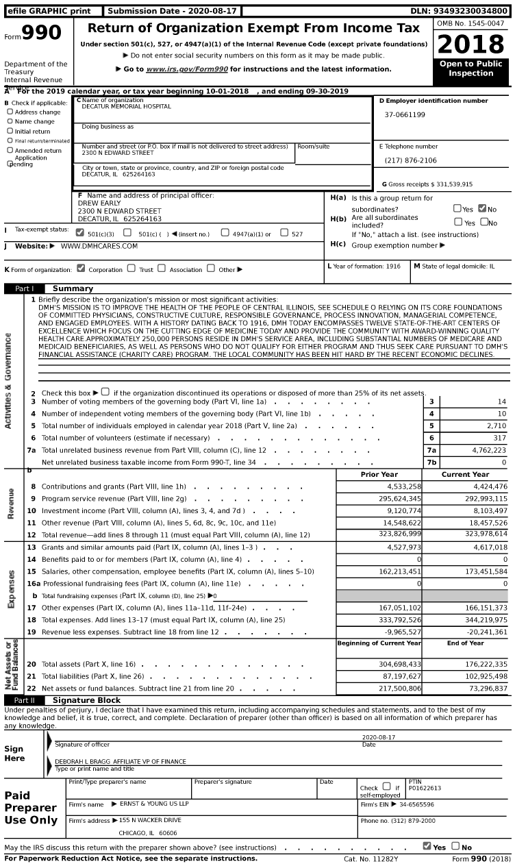 Image of first page of 2018 Form 990 for Decatur Memorial Hospital (DMH)