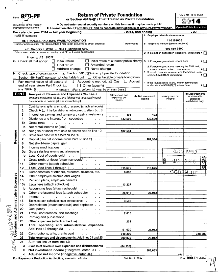 Image of first page of 2014 Form 990PF for Frances and John Wahl Foundation
