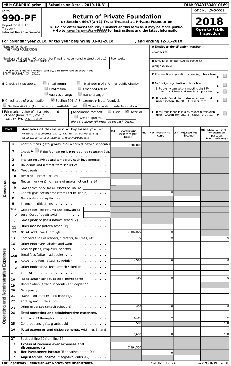 Image of first page of 2018 Form 990PF for The Yardi Foundation