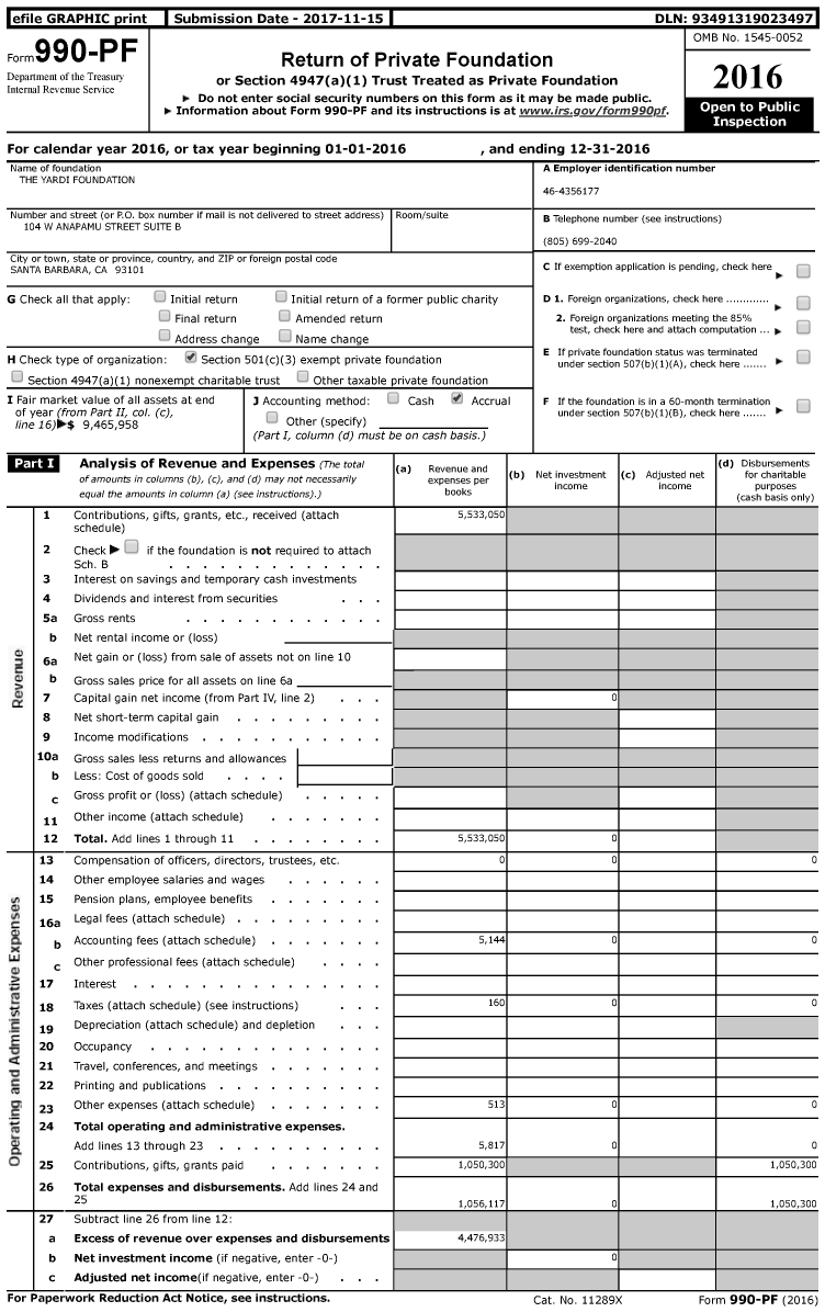 Image of first page of 2016 Form 990PF for The Yardi Foundation