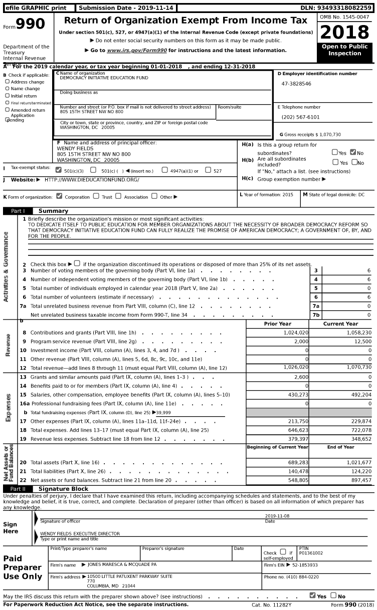 Image of first page of 2018 Form 990 for Democracy Initiative Education Fund