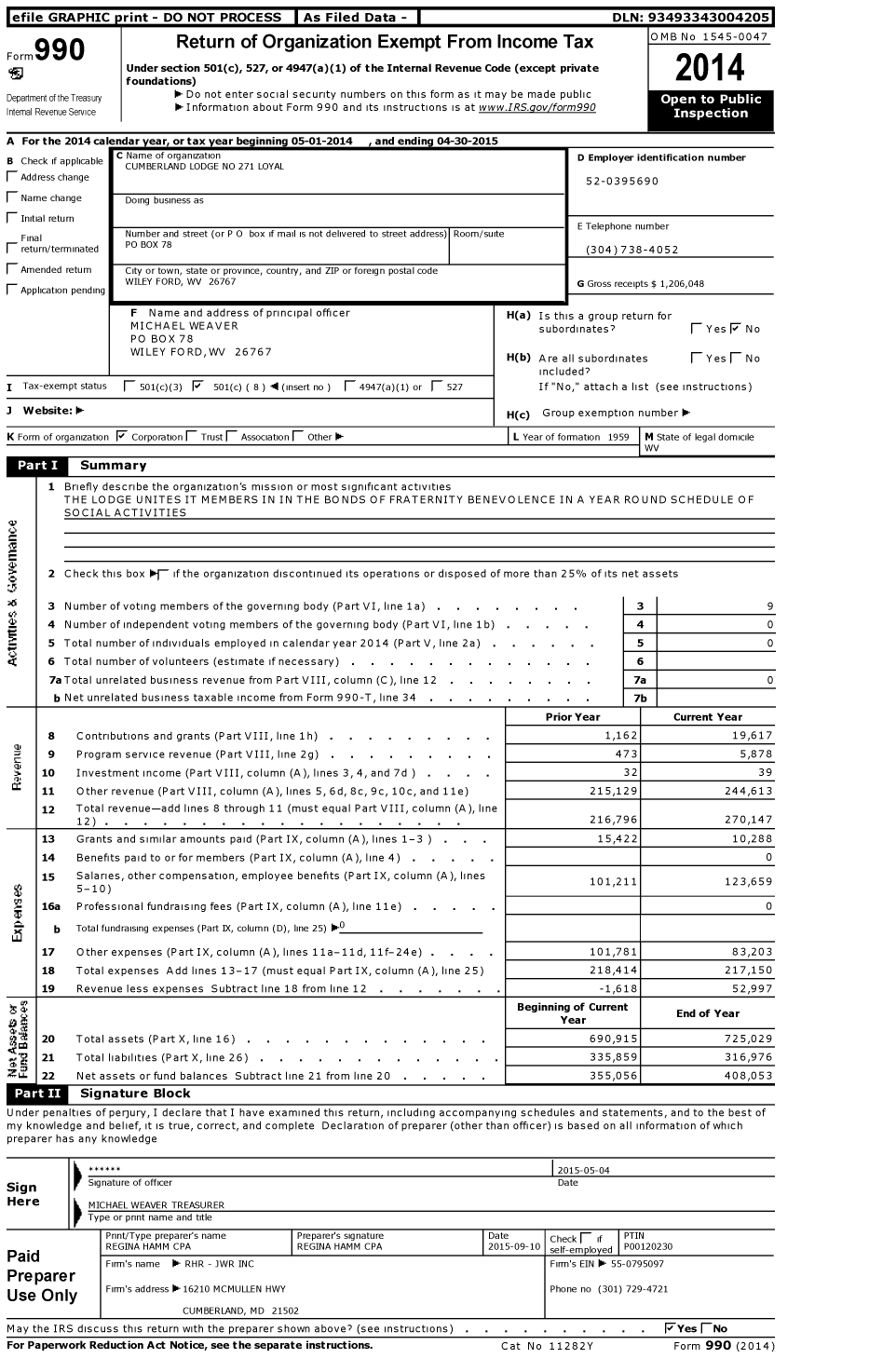 Image of first page of 2014 Form 990O for Loyal Order of Moose - 271