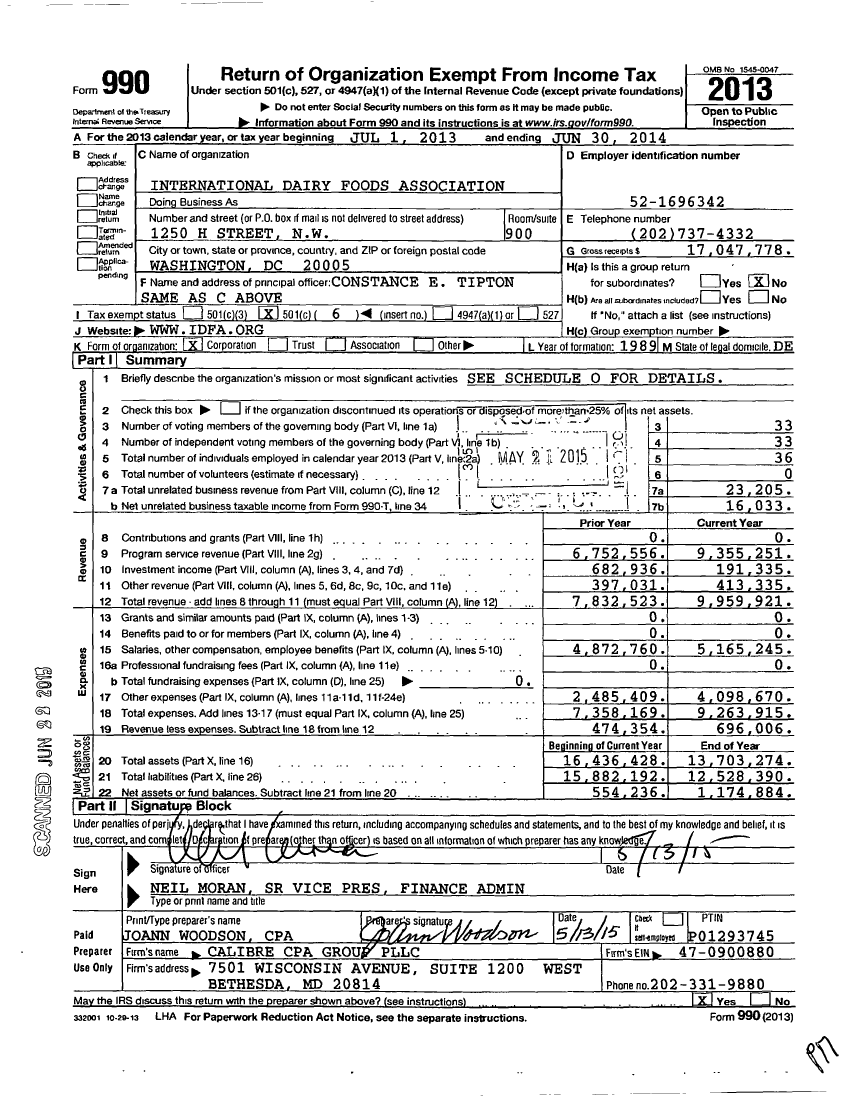 Image of first page of 2013 Form 990O for International Dairy Foods Association (IDFA)