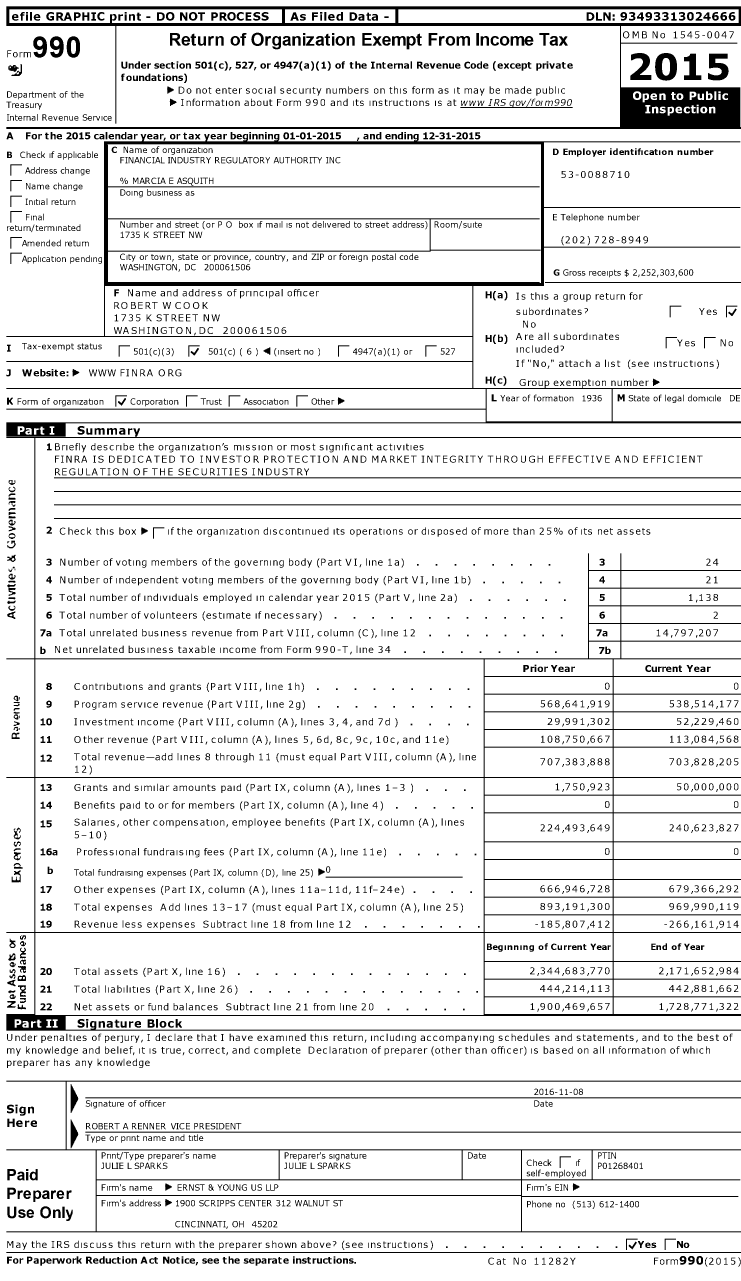 Image of first page of 2015 Form 990O for Financial Industry Regulatory Authority (FINRA)