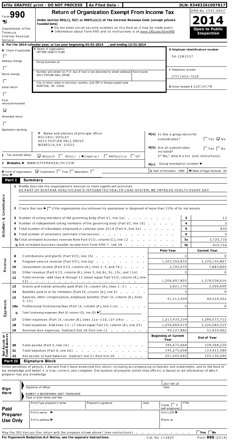 Image of first page of 2014 Form 990 for Optima Health