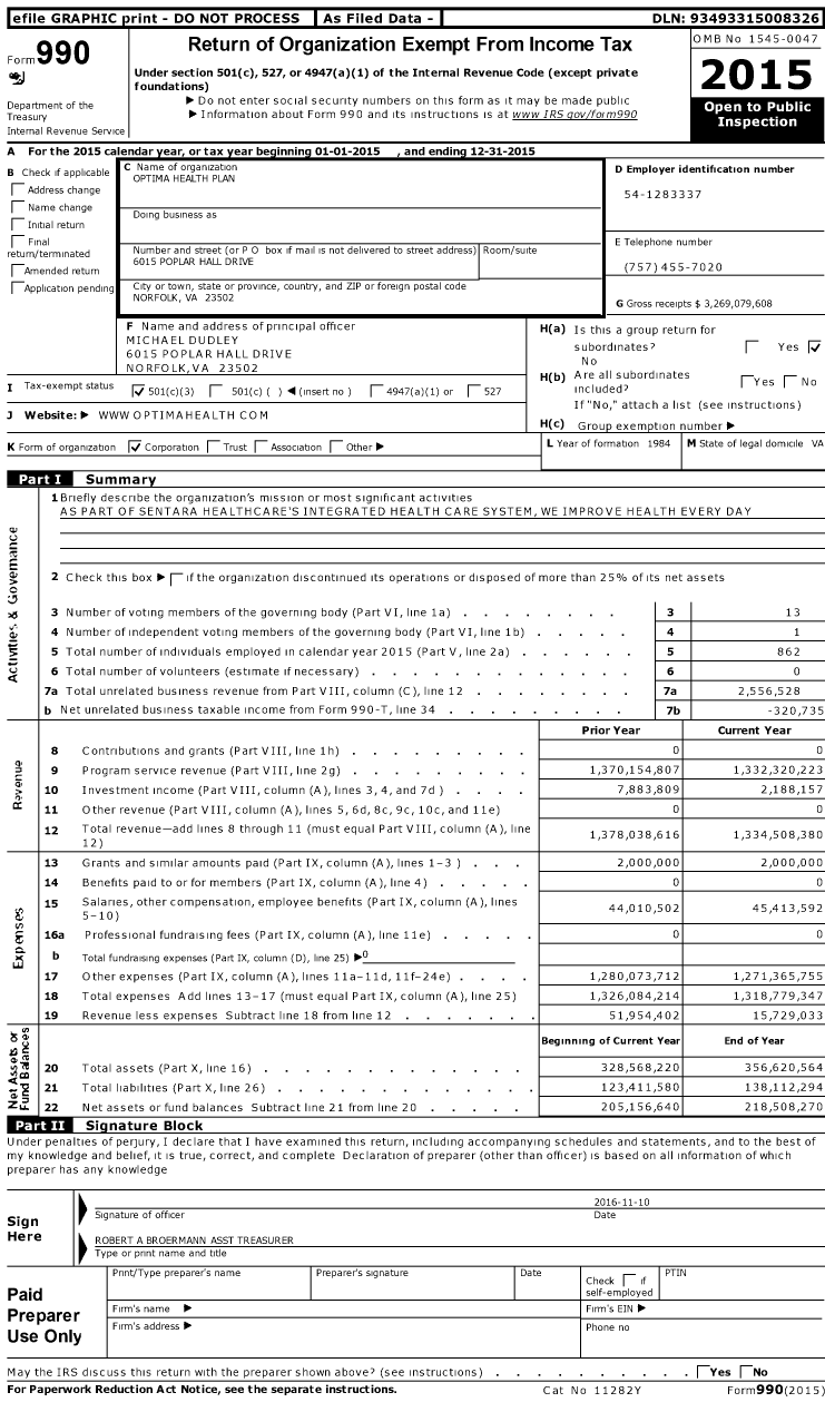 Image of first page of 2015 Form 990 for Optima Health