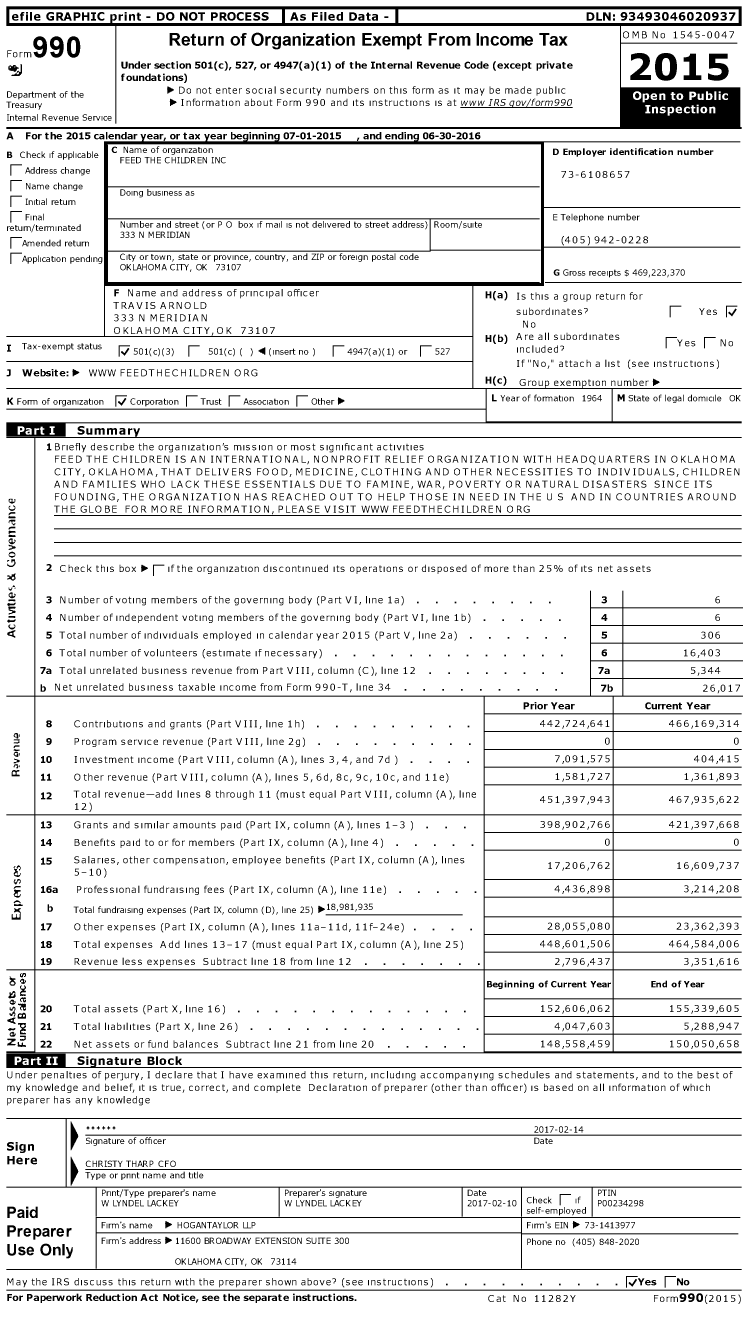 Image of first page of 2015 Form 990 for Feed the Children