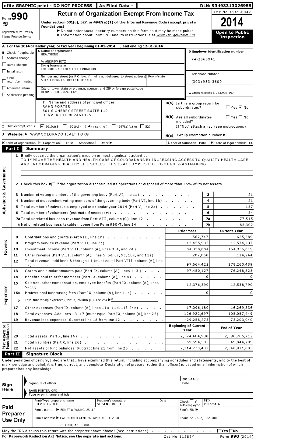 Image of first page of 2014 Form 990 for The Colorado Health Foundation