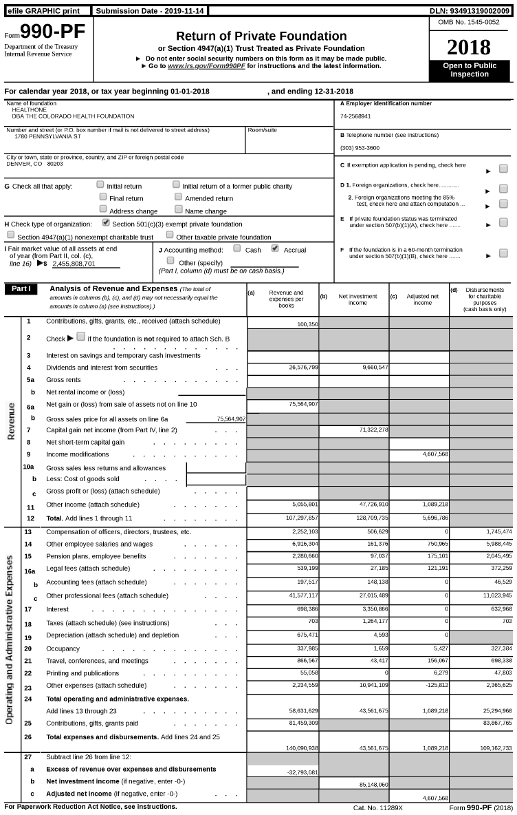 Image of first page of 2018 Form 990PF for The Colorado Health Foundation