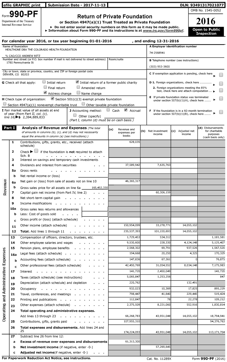 Image of first page of 2016 Form 990PF for The Colorado Health Foundation