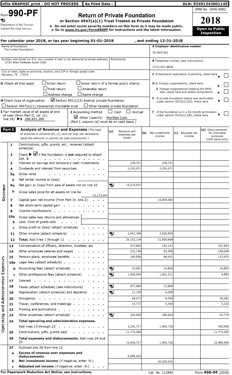 Image of first page of 2018 Form 990PR for Cullen Foundation