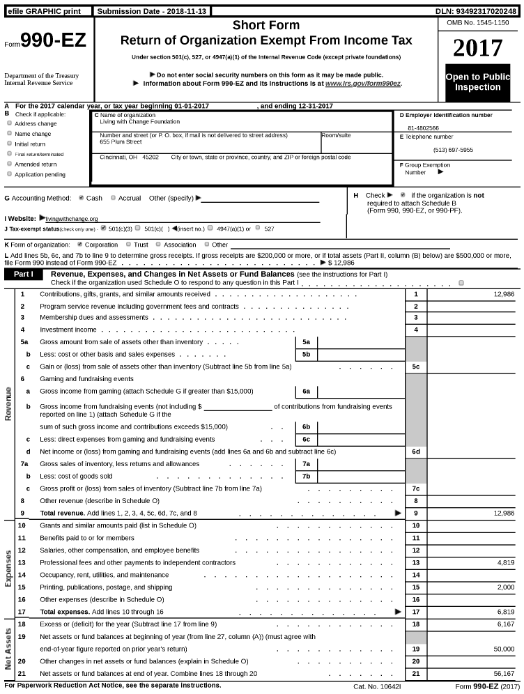 Image of first page of 2017 Form 990EZ for Living with Change