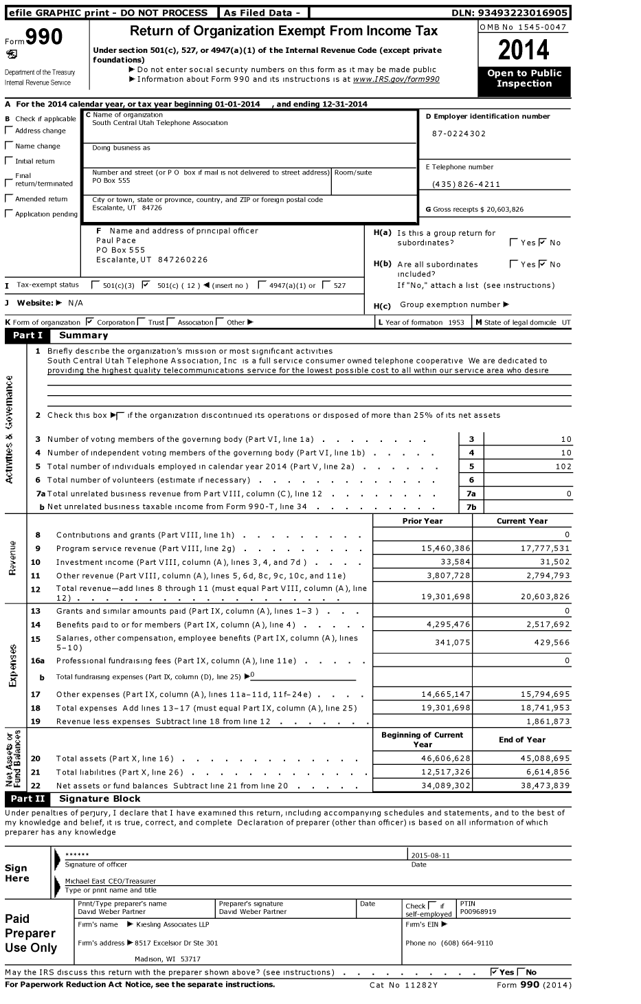 Image of first page of 2014 Form 990O for South Central Utah Telephone Association