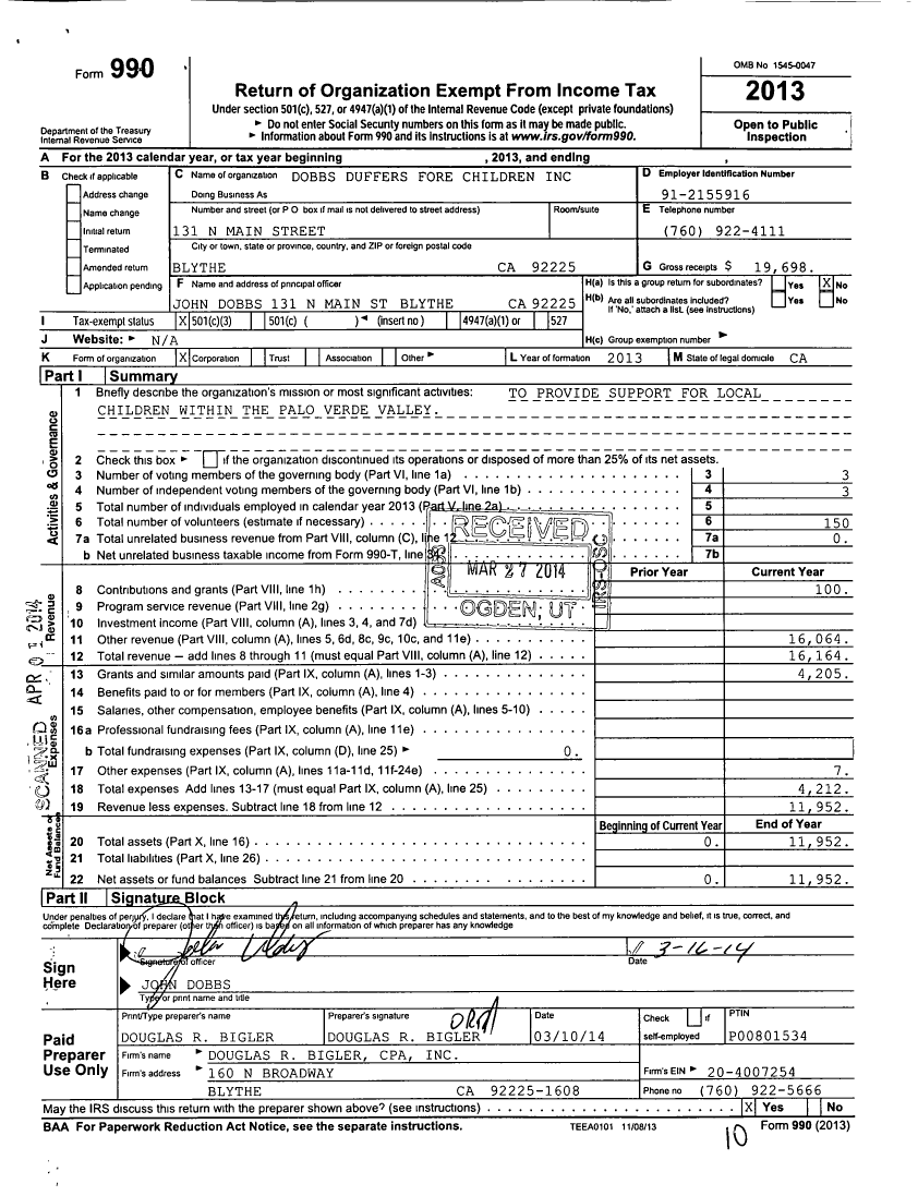 Image of first page of 2013 Form 990 for Dobb's Duffers Fore Children
