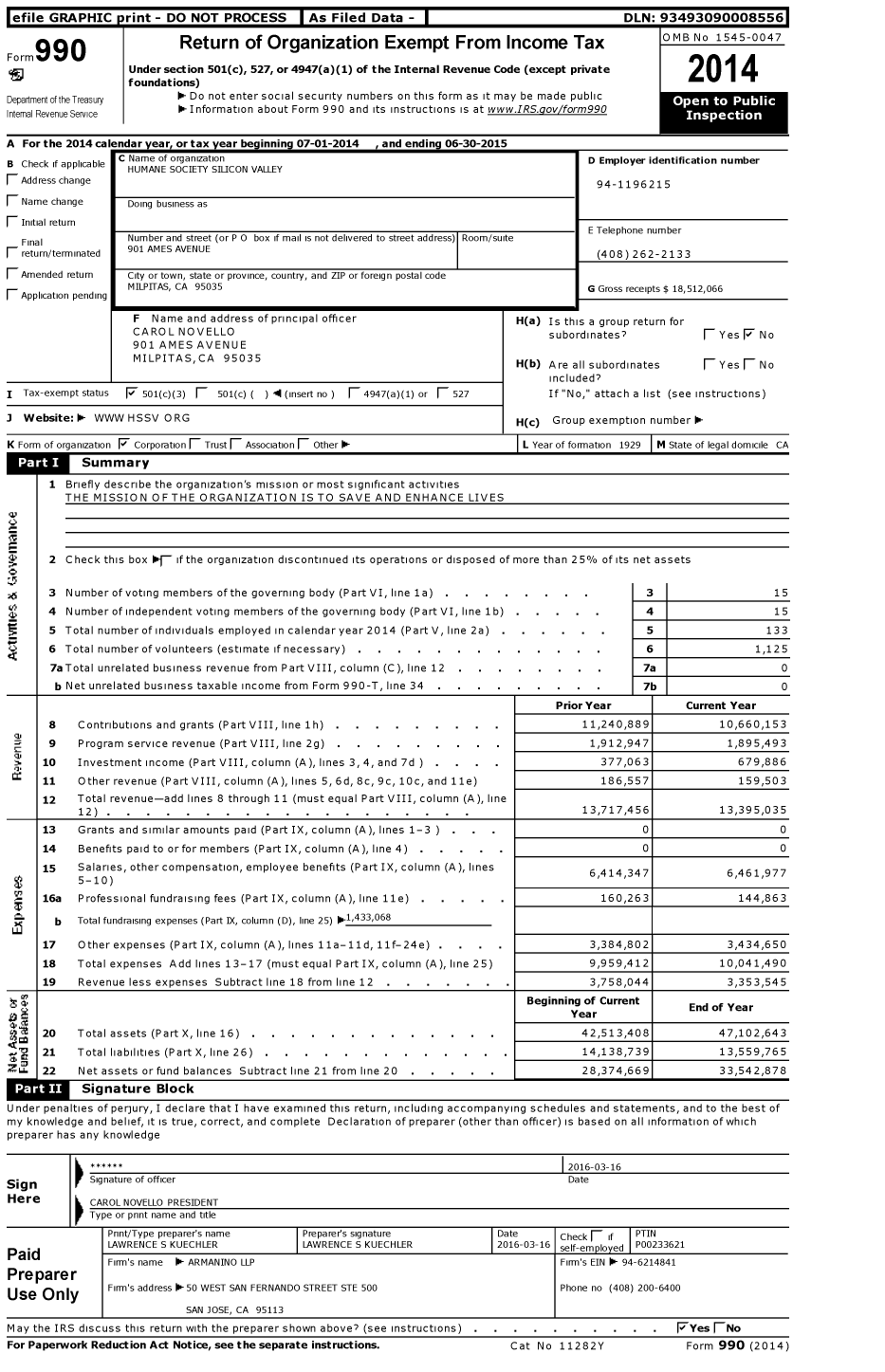 Image of first page of 2014 Form 990 for Humane Society Silicon Valley