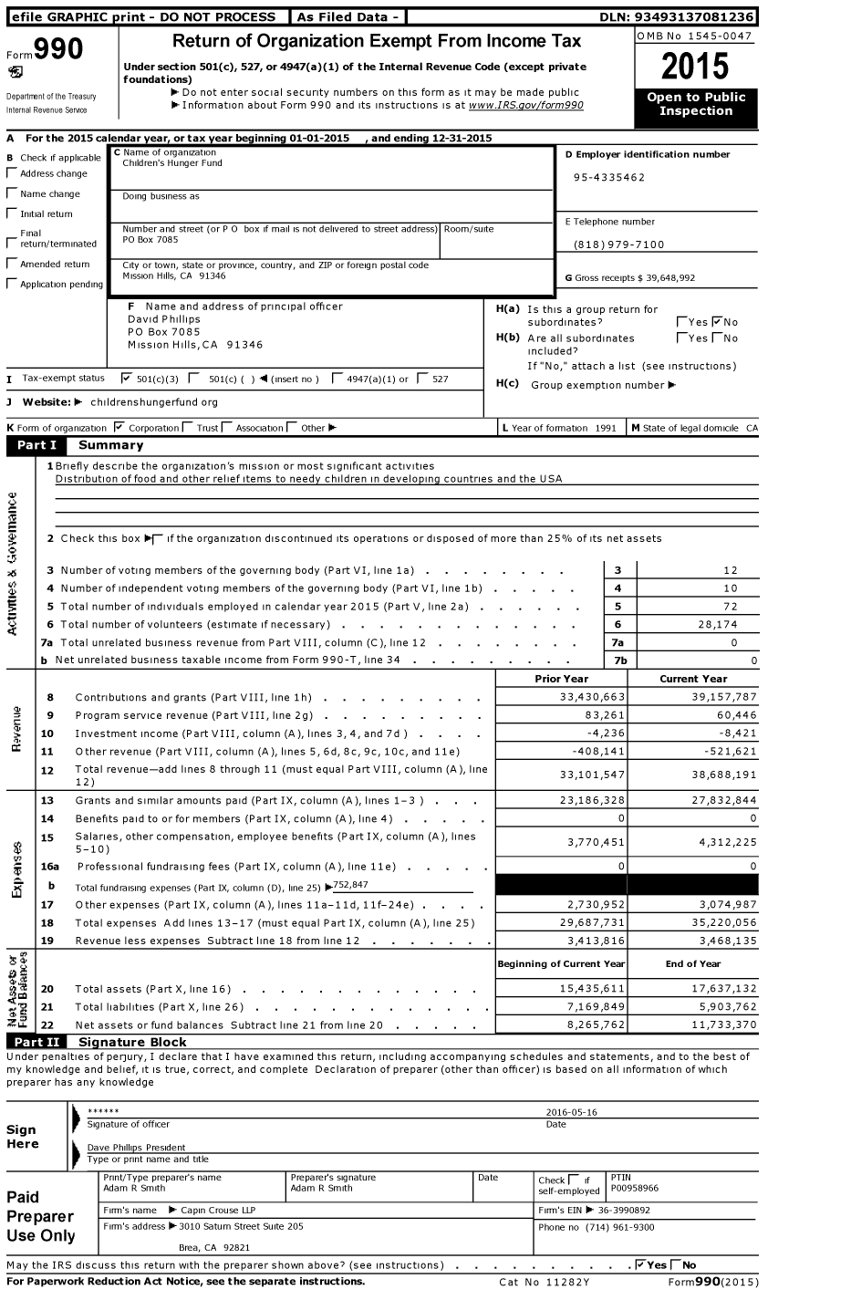 Image of first page of 2015 Form 990 for Children's Hunger Fund